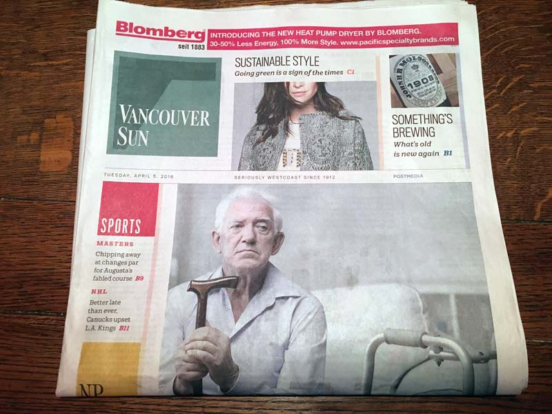 Vancouver Sun's first new front page
